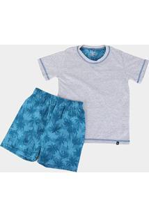 Pijama Infantil Lupo Km Folhagem Masculino - Masculino-Mescla