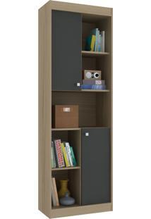 Estante Para Livros 2 Portas 4 Prateleiras Ho-2925 Avelã/Onix - Hecol