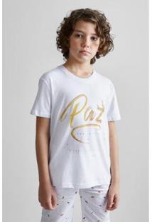 Camiseta Infantil Estampada Pf Mini Paz Reserva Mini Masculina - Masculino-Branco