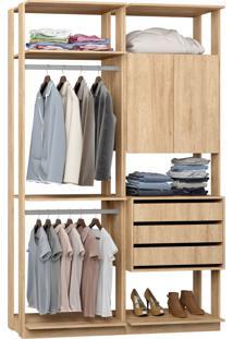 Closet 2 Portas 3 Gavetas 9014 Carvalho - Bentec