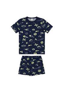 Pijama Infantil Alakazoo Espaço Azul Marinho