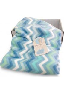 Cobertor Bebê Microfibra Flannel Camesa Chevron Azul