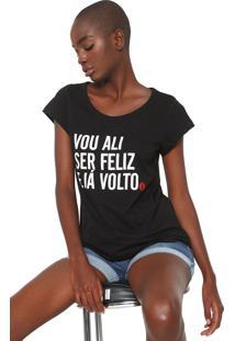 Camiseta Coca-Cola Jeans Ser Feliz Preta