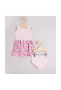 Vestido Infantil Estampado Floral Com Laço Sem Manga + Calcinha Rosa