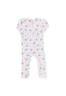 Macacão Pijama Infantil Coquelicot Com Zíper E Sem Pé Cavalinho Branco