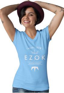 Camiseta Feminina Gola V Ezok Royal Crew Azul Claro