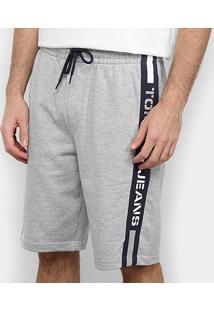 Bermuda Moletom Tommy Jeans Branded Tape Sweatshort Masculina - Masculino