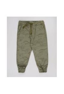 Calça De Sarja Infantil Jogger Estampada De Dinossauros Com Bolsos Verde Militar