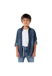 Camisa Infantil Menino Mania Kids Jeans Jeans
