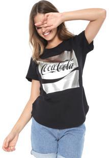 Camiseta Coca-Cola Jeans Logo Metalizado Preta