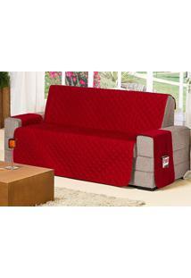 Protetor De Sofá Protetor De Sofá 2 E 3 Lugares Com Porta Controle E Revista Cor Vermelho Com 2 Peças - Ione Enxovais