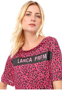 Camiseta Cropped Lança Perfume Animal Print Rosa