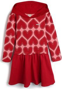 Vestido Colorittá Infantil Coração Rosa/Vermelho