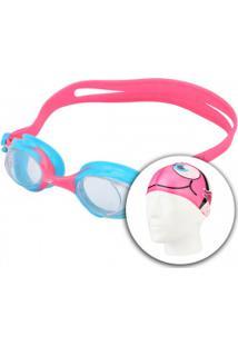 Kit De Natação Hammerhead Fun Set Kids Com Óculos E Touca - Infantil - Rosa d8b33120dc