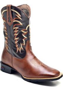 Bota Texana Ded Calçados Bico Quadrado Cano Longo Bordado Masculina - Masculino-Marrom
