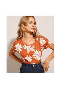 Camiseta Estampada Floral Manga Curta Decote Redondo Marrom