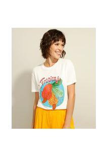 "Camiseta Ampla ""Tropicaju"" Manga Curta Decote Redondo Off White"