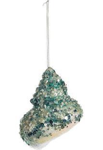 Enfeite De Concha Com Glitter- Azul & Branco- 15X10Xcromus