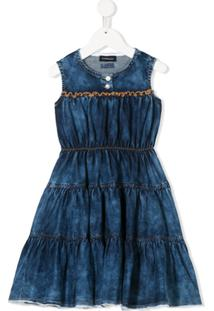 Monnalisa Vestido Jeans Com Amarração - Azul