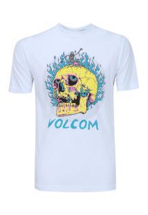 Camiseta Volcom Silk Slim Shred Skull - Masculina - Branco ae0526bc1019a