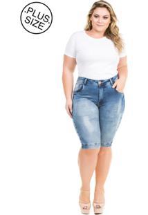 Bermuda Jeans Squash Com Bolso Plus Size