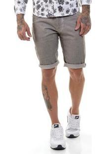 Bermuda Sarja Premium Slim Fit Masculina - Masculino-Cinza
