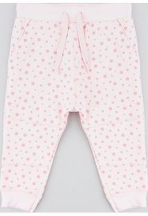 Calça Infantil Estampada De Poá Em Moletom Rosa Claro