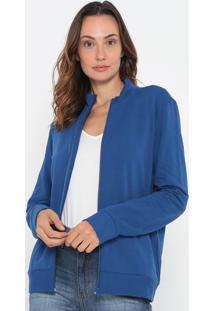 Jaqueta Lisa Em Moletom Com Bolsos- Azul Escuro- Malmalwee