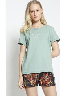 "Camiseta ""Eco Soul Colcci"" - Verde Claro & Off Whitecolcci"