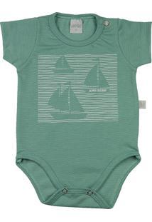 Body Ano Zero Bebê Malha Poá Híbrido Barquinhos Verde Rn