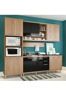 Cozinha Compacta Sem Tampo 12 Portas 5814 Argila/Preto - Multimóveis