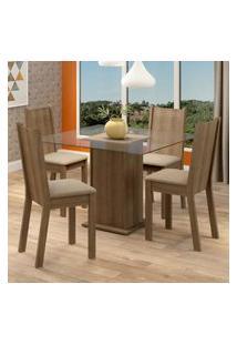 Conjunto Sala De Jantar Madesa Maya Mesa Tampo De Vidro Com 4 Cadeiras Marrom