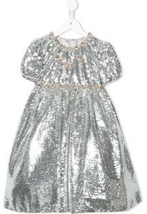 Dolce & Gabbana Kids Vestido De Festa Com Aplicação De Paetês - Prateado
