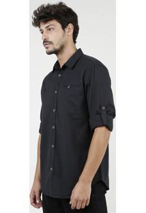 Camisa Masculina Tradicional Mescla Com Bolsos Manga Longa Preta