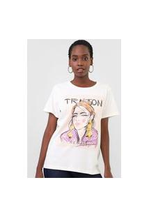 Camiseta Triton She Is Art Off-White