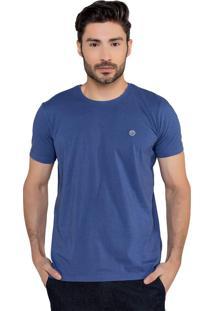 T-Shirt Masculina 100% Algodão Manga Curta Azul Marinho