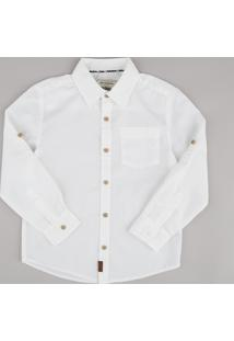 Camisa Infantil Com Bolso Manga Longa Off White