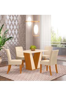 Conjunto De Mesa Com 4 Cadeiras Para Sala De Jantar Berlim-Henn - Nature / Off White / Linho