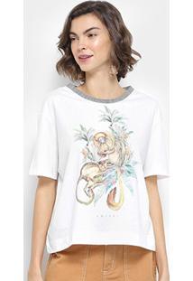 Camiseta Colcci Estampada Macaco Feminina - Feminino-Off White