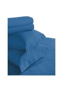 Kit Colcha Queen E Porta Travesseiro Teka Gênova Azul 3 Peças 100% Algodáo