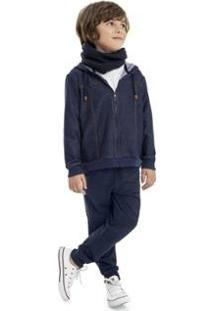 Jaqueta Infantil Em Moletom Indigo Masculino Quimby - Masculino-Azul
