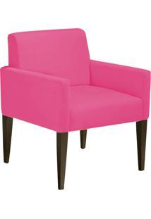 Poltrona Decorativa Dani Para Sala E Recepção Suede Rosa Barbie - D'Rossi