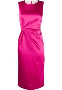 P.A.R.O.S.H. Vestido Midi Com Franzido Na Cintura - Rosa