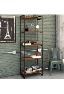 Estante Para Livros 5 Prateleiras Nogal 8393 - Compace
