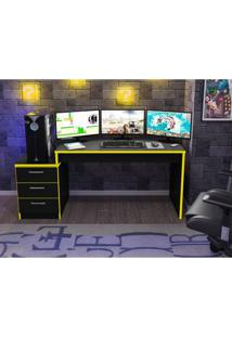 Mesa Para Computador Desk Gamer Drx 6000 Siena Móveis Preto/Amarelo