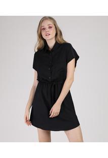 Vestido Feminino Curto Com Botões E Faixa Para Amarrar Manga Curta Preto