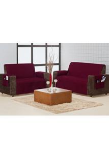 Protetor Sofa Home 3 E 2 Lugares Vinho Enxovais Aquarela