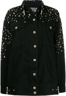 Versace Jeans Couture Oversized Studded Denim Jacket - Preto