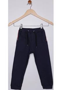 Calça Moletinho Matelassê Infantil Para Menino - Azul Marinho