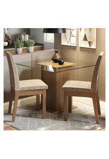 Conjunto Sala De Jantar Madesa Rosi Mesa Tampo De Vidro Com 2 Cadeiras Marrom